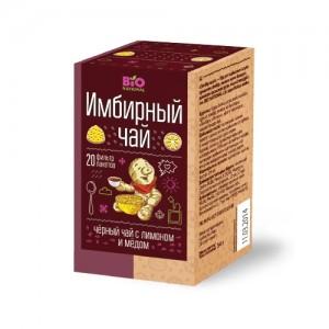 Чай имбирный черный с медом и лимоном