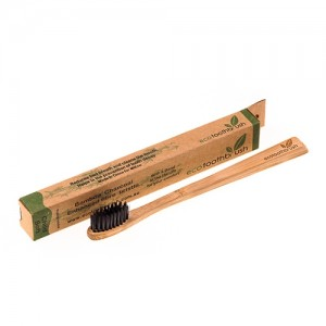 Зубная щетка из натурального бамбука с угольным напылением мягкая Mini детская